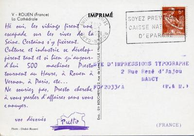 1958 serie presto carte 5 verso rouen