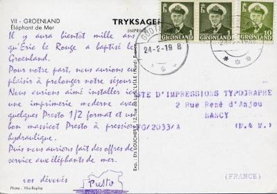 1958 serie presto carte 7 verso groenland