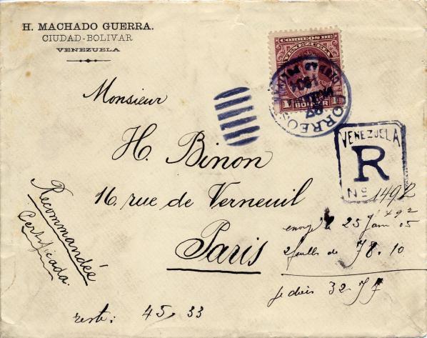 Lettre venezuela binon recto 1904